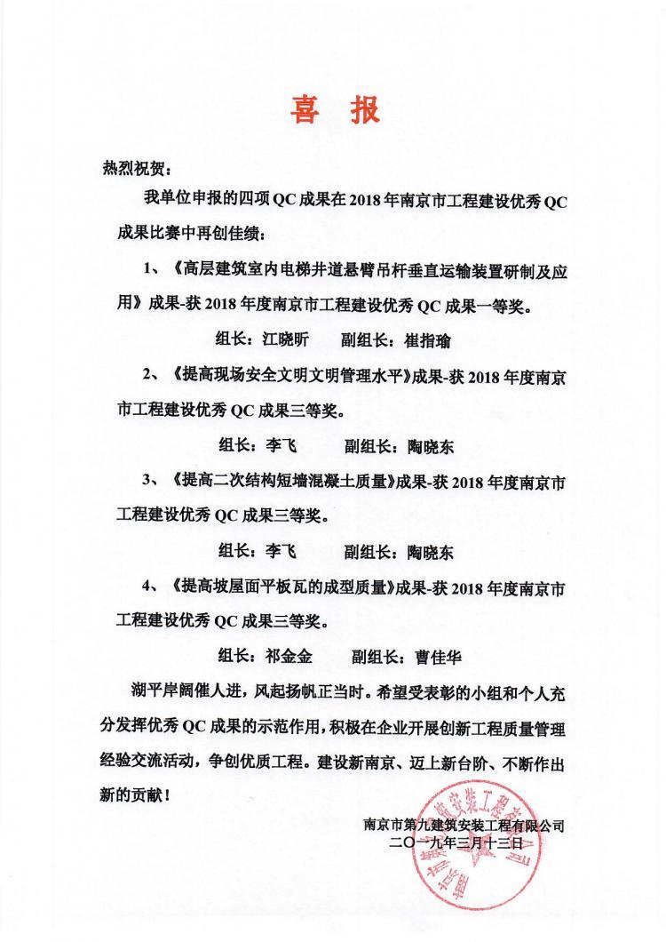 喜报-我单位申报的QC成果在南京市优秀QC成果交流中喜获佳绩-第1张图片-南京九建