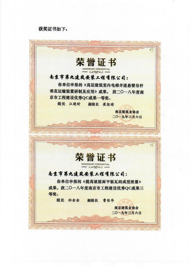 喜报-我单位申报的QC成果在南京市优秀QC成果交流中喜获佳绩-第2张图片-南京九建