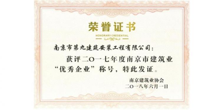 南京市优秀企业-2017